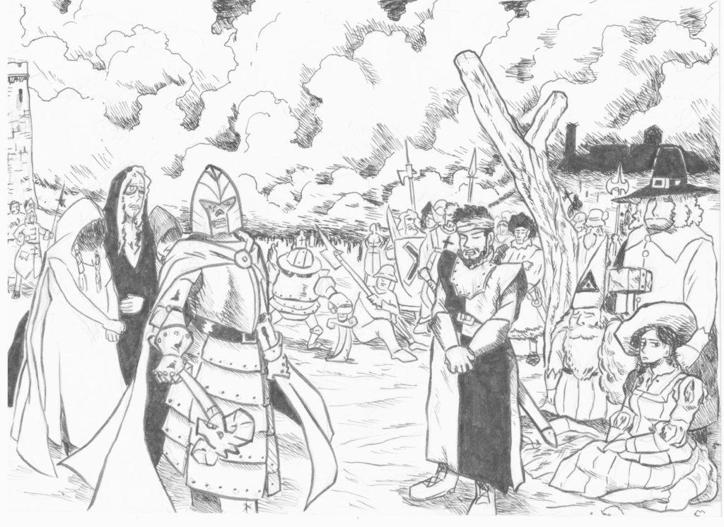 Arte LARP en España Hieronymus Feria del Dragón Batalla El Gran Capitán Odrogoth Lágrimas de la Tormenta rol en vivo Douglas el Despiadado