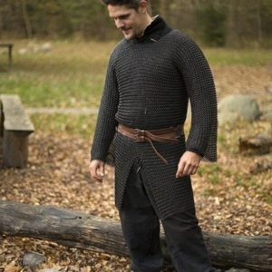 Camisa-Cota-de-Malla-Negra-Ric-armadura-LARP-metal-Douglas-el-Despiadado