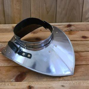 Gorjal de acero pulido 1-3mm con cuello armadura metal LARP douglas el despiadado